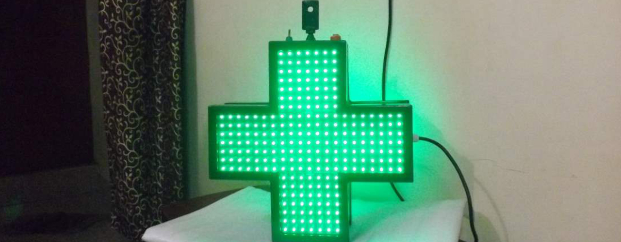 Led Pharmacy Display Sign Boards Green Cross And Other Led